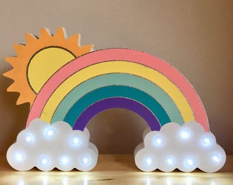 Wooden Hand Painted LED Night Light - Rainbow