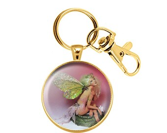 Pocket Fairy Keychain Pendant 3D Dome Cabochon Paperweight Gold Plated Lobster Keyring OOAK Sculpture Miniature Fae Art Print Collectible