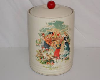 Vintage Ceramic Cookie Jar Canister Dutch Holland Picture