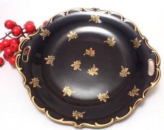 Lindner Echt Cobalt Tidbit Plate, Handled Serving Plate, Blue, 22k Gold Decoration