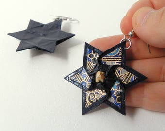 Dark blue pendant earrings - Geometric origami shape made with paper - [SALES OUT of PRODUCTION -20%]