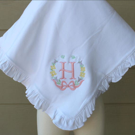 Monogrammed Ruffled Cotton Baby Blanket with Floral Wreath