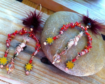 Earrings chandeliers with fall colors - sari silk ribbons, seed beads, natural feathers.
