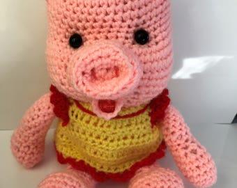 Large crochet pig