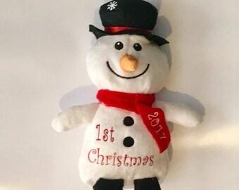 First Christmas Snowman - 1st Christmas - Plush Snowman Personalized - Christmas Characters - Stocking Stuffers - Stuffed Snowman