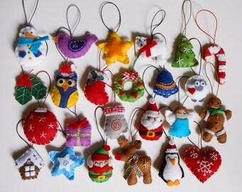 Big set of 24 Christmas tree ornaments - pack of 24 felt advent calendar Christmas decoration
