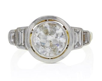 1.73 Carat Old Euro Bezel Set Engagement Ring