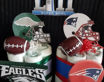 Eagles vs. Patriots Super Bowl LII mini Diaper cake table topper/door prizes/Dad caker/ Giveaways/tailgate/ NFL/New England/ Philadelphia