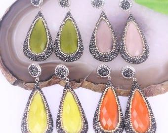 4Pairs Pave Rhinestone Cat eye stone teardrop earrings, Gemstone dangle earrings jewelry for women