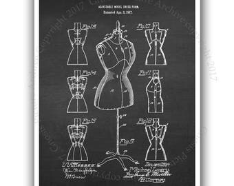 Back to School Fashion Designer Wall decor Fashion wall art unframed Dress Form invention diagram Dress Form patent print#6
