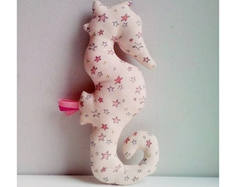 Decoration / toy seahorse old pink stars