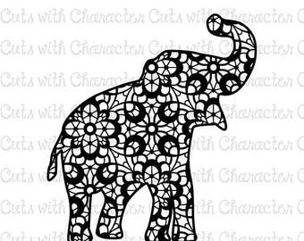 ON SALE Lace Elephant Silhouette SVG Dxf and Png Files for Cutting Machines Silhouette, Cricut or Scan 'N' Cut