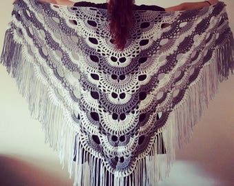 Crochet 3-Color Shawl with Fringe