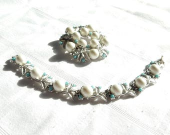 SALE Sarah Coventry Brooch Bracelet Set - SARAHCOV Jewelry Demi-Parure - Matching Sarah Coventry Pin and Bracelet Faux Pearls and Turquoise