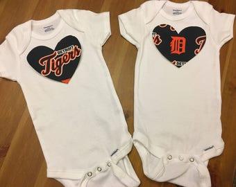 Detroit Tigers Heart Onesie