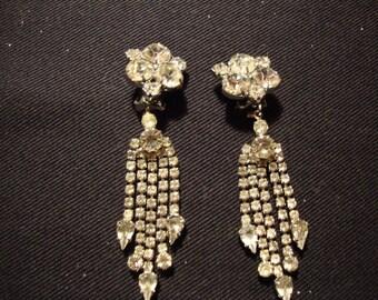 Vintage Clear Rhinestone Earrings