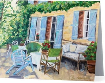 "8 Notecards of ""Patio in Provence"" my original painting."