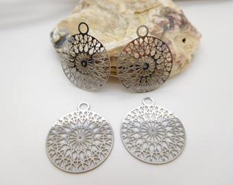 2 print rosette stainless silver metal filigree charms 22mm /fabrication /fabrication jewel Stud Earrings