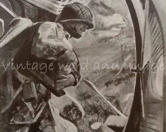 1943 WWII Guadalcanal USMC Art Print Marine Corps Vintage Lithograph Paramarines Ready to Jump Paratroopers Military Combat War History