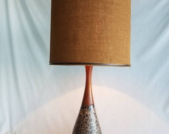 Vintage Mid-Century Ceramic and Wood Table Lamp With Burlap Shade