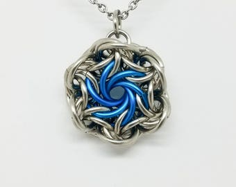 Moorish Rose Chainmaille Pendant on Stainless Steel Chain