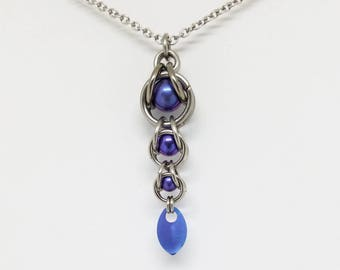 Purple Captured Titanium Ball Chainmaille Stainless Steel Pendant with Tiny Titanium Blue Purple Scale Burple