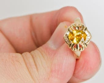 14k Yellow Gold Yellow Sapphire Ring (or Engagement Ring) with H VS Diamonds
