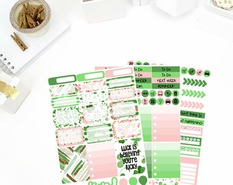 Shamrock Weekly Kit Stickers! Perfect for your Erin Condren Life Planner, calendar, Paper Plum, Filofax!