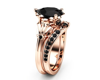 Pear Black Diamond Engagement Ring Set 14K Rose Gold Petal Rings Pear Cut Ring with Matching Diamond Band