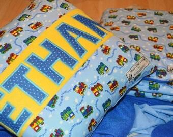 Choo Choo Train Cushion, Personalized Train Cushion, Personalised Gift for Boy, Train Cot Bedding, Baby Blanket, Train Cushion, Name Train