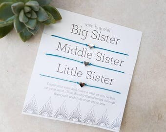 Big sister, middle sister, little sister triple Wish Bracelet, Friendship Bracelet, string bracelet, three sisters, Family Gift