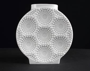 White op art porcelain vase by Kaiser, west German, Mid Century, 70s