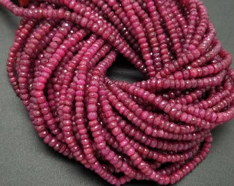 4.0 - 5.0 mm , Dyed Ruby Faceted Rondelle L2 , 13 Inch