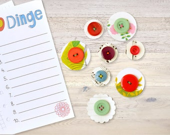 8 Paper Flowers with Button Vintage Scrapbooking Planner Embellishments