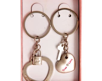 Valentines Couples heart KeyRing Set with Pink Box and Ribbon