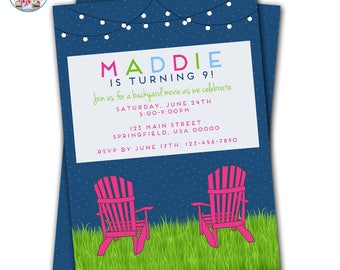 Movie Night Invitation, Backyard Movie Invitation, Movie Under the Stars, Movie Party, Backyard Movie Party