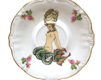 Vintage - Illustrated - Mermaid - Saucer Plate - Upcycled - Wall Display - Altered - Antique - Plate