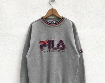 20% OFF Vintage Fila Biella Italia Big logo Sweatshirt/Fila Sweater/Casual Clothing/Fila Sport Sweater/Fila Italia