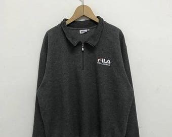 20% OFF Vintage Fila Half Zipper Embroidery Logo/Fila Sweater/Casual Clothing/Fila Sport Sweater/Fila Italia