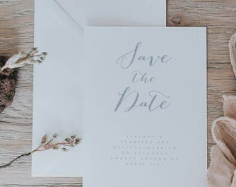 Printed Boho Inspired Save the Date Cards. Calligraphy Style Save the Date Card with Envelopes.
