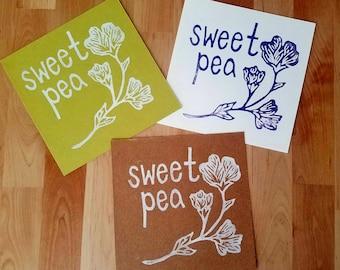 "Sweet Pea Handmade Block Print 6"" x 6"""