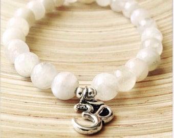 Moonstone bracelet. Yoga bracelet. Om bracelet. Stackable mala.