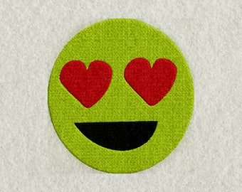 Love smiley face emoji embroidery design, Emoji Machine Embroidery Design,Smiley Embroidery Emoji in 3 sizes & ALL Formats ,Embroidery File