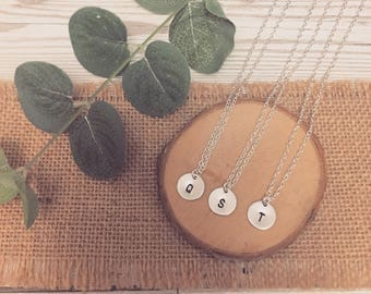 Sterling Silver 12mm Disc Handstamped Initial Necklace | Bridesmaid Gift | Wedding | Gift