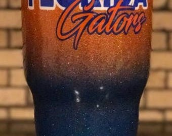 Florida Gators Ombre Fade and Glitter Painted and Epoxy Cleared 30 oz tumbler