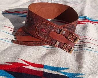 Vintage Tooled Leather Wide Rose Corset Belt