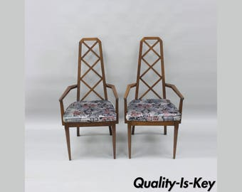 Pair Specialty Woodcraft Walnut Lattice Back Dining Arm Chair Mid Century Modern