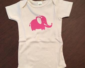Elephant Organic Cotton Baby Clothes Custom Screen Printed Onesie 18-24mo
