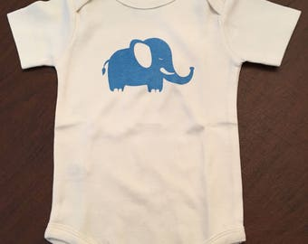 Elephant Organic Cotton Baby Clothes Custom Screen Printed Onesie 6-12mo