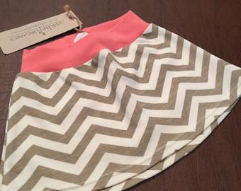 Organic Cotton Baby Clothes Handmade Mushroom and Cream Chevron Skirt 3-6mo